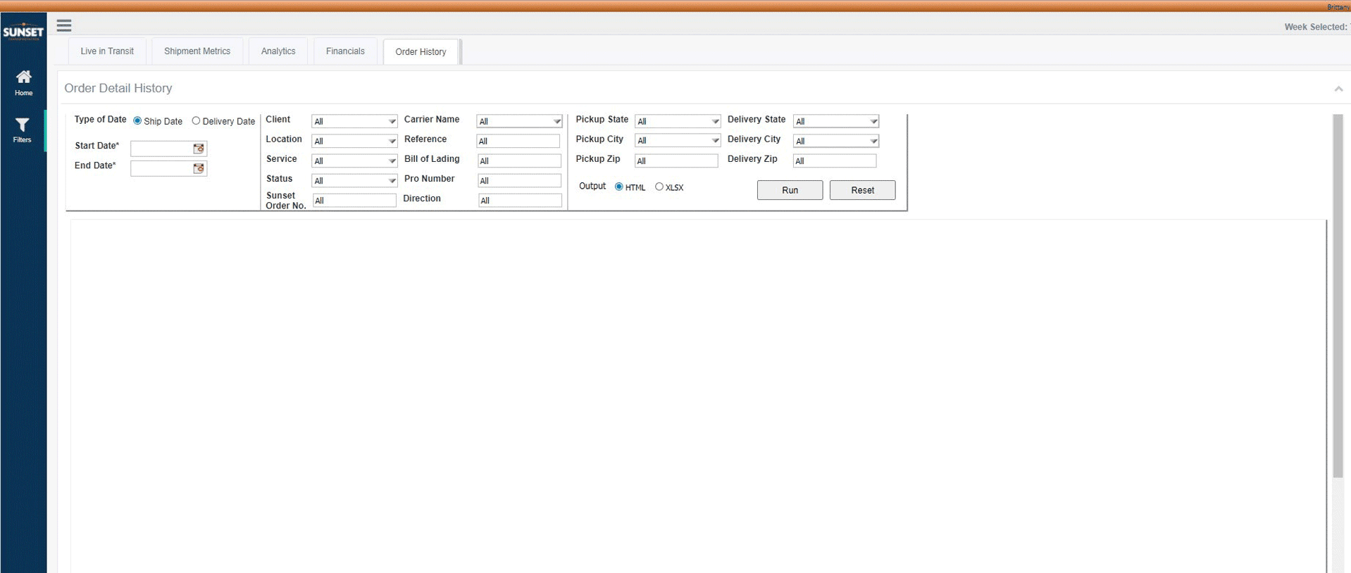 Example of the LOGIK Order History dashboard
