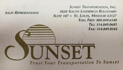 an early Sunset Transportation Sales business card